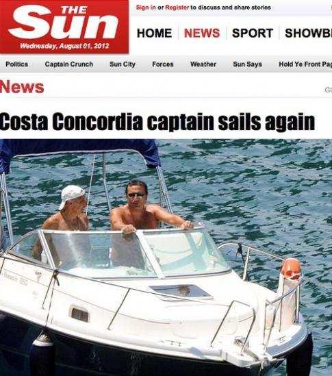 Dopo il naufragio della Concordia Schettino torna in mare