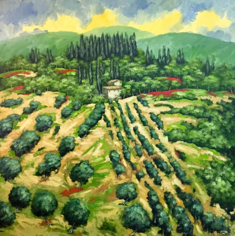 Domenico Monteforte Collina in Toscana olio su tela anno 2018.jpg 797x800 - Il mondo della pittura vista con gli occhi di Domenico Monteforte