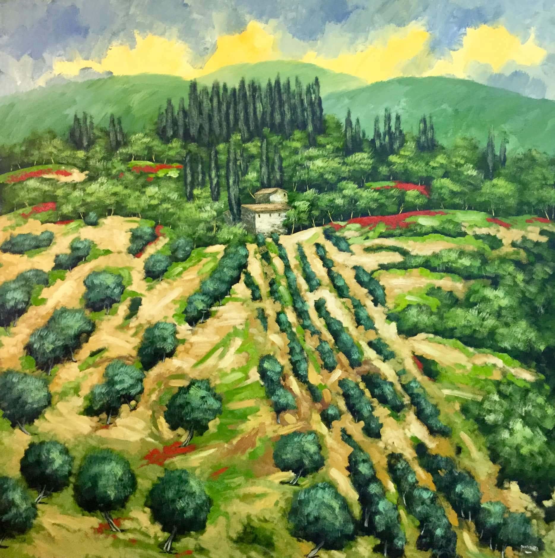 Domenico Monteforte Collina in Toscana olio su tela anno 2018.jpg - Il mondo della pittura vista con gli occhi di Domenico Monteforte