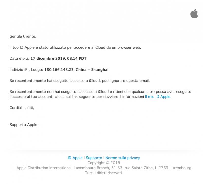 email truffa phishing Apple 800x725 - Email con ricatto e Phishing: Attenzione è una truffa - Lista aggiornata